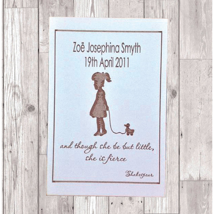 Little girl quote laser engraved plaque personalised Baptism - Fred And Bo