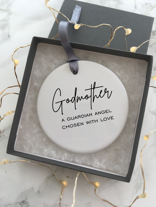 Godmother A guardian angel chosen with love- Christening - Baptism- Ceramic Hanging Decoration - Fred And Bo
