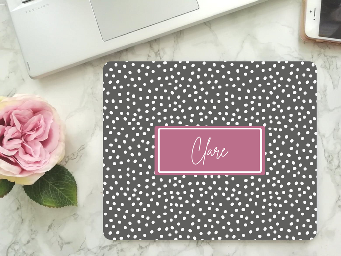 Mouse Mat - Personalised Grey Polka Dot Text Box - Mouse Pad