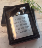 Hip flask- laser engraved hangover quote - hand stamped personalised gift - Fred And Bo
