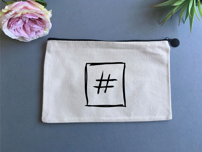 Linen pouch - Hashtag hand drawn - Fred And Bo