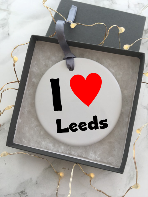 I Love Leeds - Ceramic Hanging Decoration - Fred And Bo