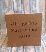 "Hand stamped card ""Obligatory valentines card"" valentine - Fred And Bo"