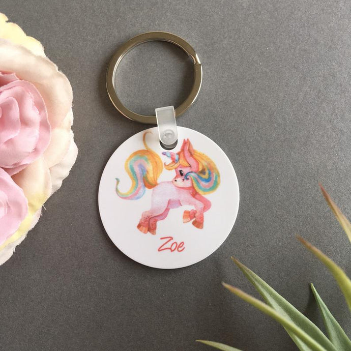 School Bag Charm - Unicorn - Keyring