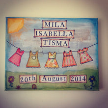 Personalised baby gift, canvas, personalised baby art, personalised baby gift - Fred And Bo