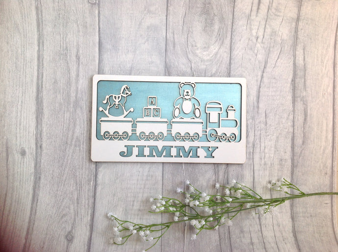 Baby boy personalised name plaque with toy train - Fred And Bo