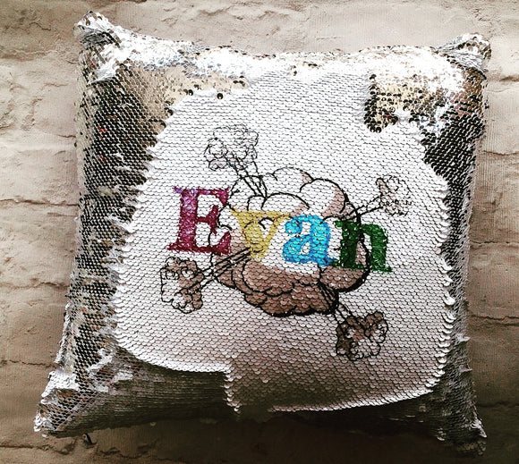 Magical sequins sensory cushion- personalised comic style mermaid cushion
