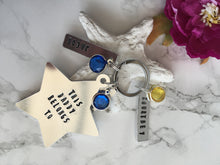 This Daddy belongs to - Star metal stamped keyring - with birthstone charms - Fred And Bo
