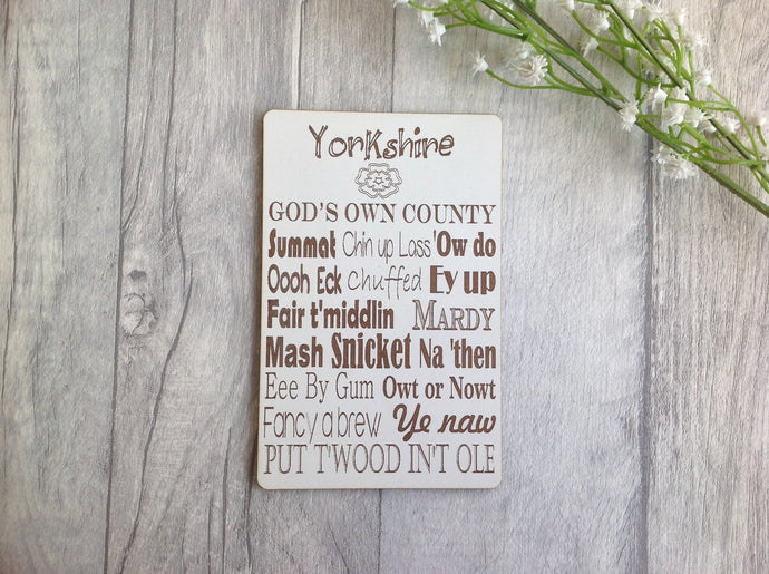 Yorkshire slang laser engraved plaque - Fred And Bo