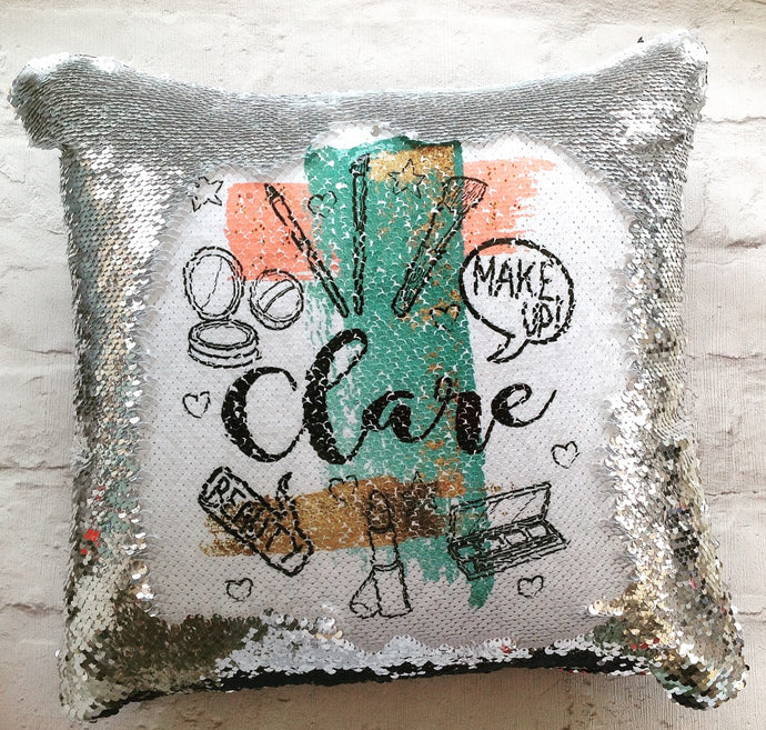 Magical sequins cushion-Make up fan - personalised mermaid cushion - Fred And Bo