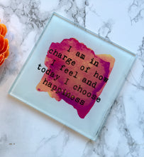 Positive mantra - Today I choose happiness quote printed Glass Coaster - Fred And Bo