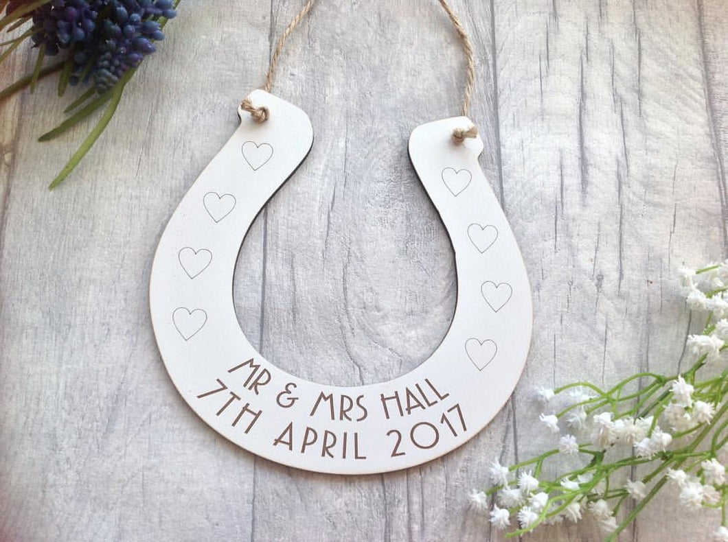 Wedding horse shoe- laser cut and laser engraved - Fred And Bo