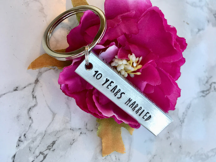 Chunky Hand stamped bar keyring, Aluminium 10th anniversary - Fred And Bo