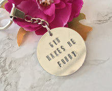 Gin makes me funny - gin lover- hand stamped metal key ring - Fred And Bo
