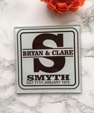 Personalised Monogram Glass Coaster - Fred And Bo