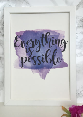Everything is possible framed watercolour print - Fred And Bo