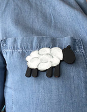 Sheep- Laser cut hand painted wooden badge - Fred And Bo