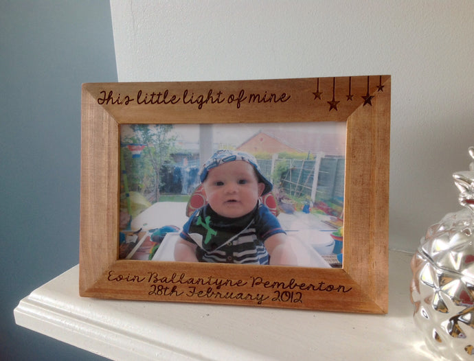This little light of mine baby personalised engraved wood photo frame 6