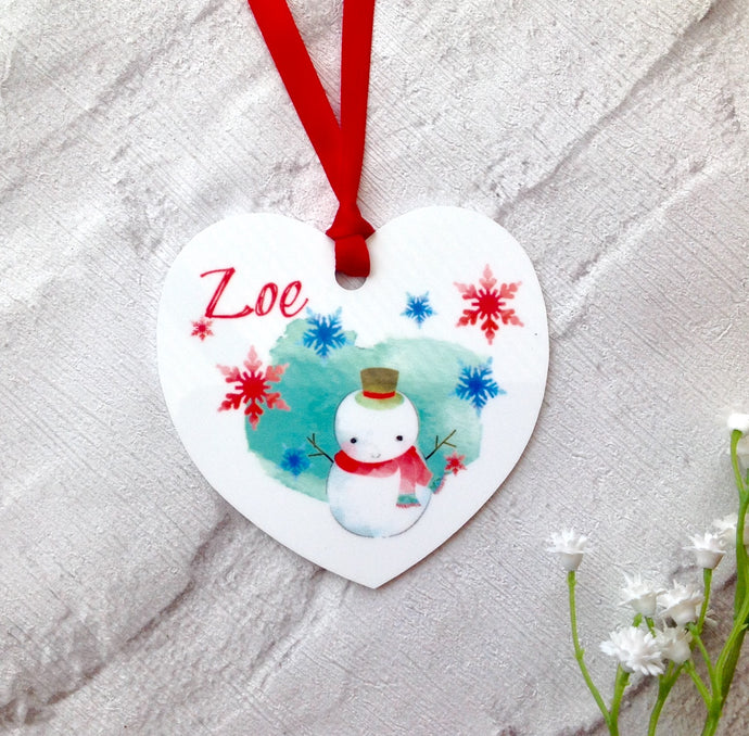 Christmas Snowman Personalised metal bauble - printed - Fred And Bo