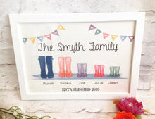 Wellie Boot Family Print Framed - Fred And Bo