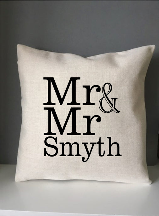 Mr & Mr personalised printed cushion - Fred And Bo