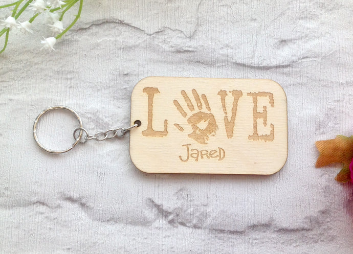HANDPRINT engraved love keyring - Fred And Bo