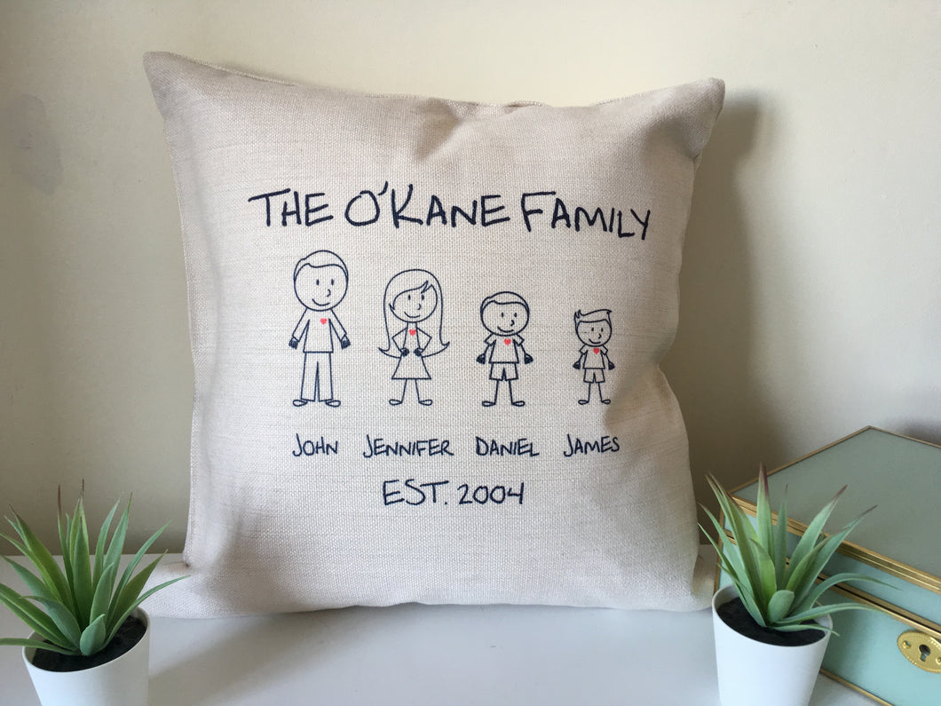 Stick Figure Family personalised printed cushion