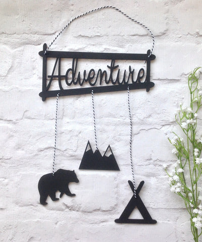 Adventure - bear, mountain, teepee hanging plaque nursery decor - Fred And Bo