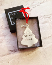 CHRISTMAS BAUBLE Christmas tree with family name - hand stamped with charm and bell - Fred And Bo