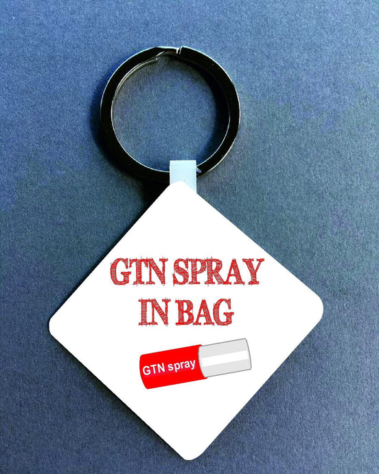 GTN spray In Bag Medical Alert Keyring. - Fred And Bo