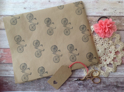 Hand stamped Bicycle wrapping paper - Fred And Bo
