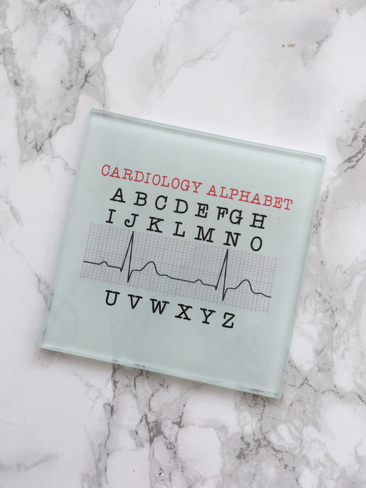 Cardiology Alphabet- ECG - Medical gift- printed glass coaster - Fred And Bo
