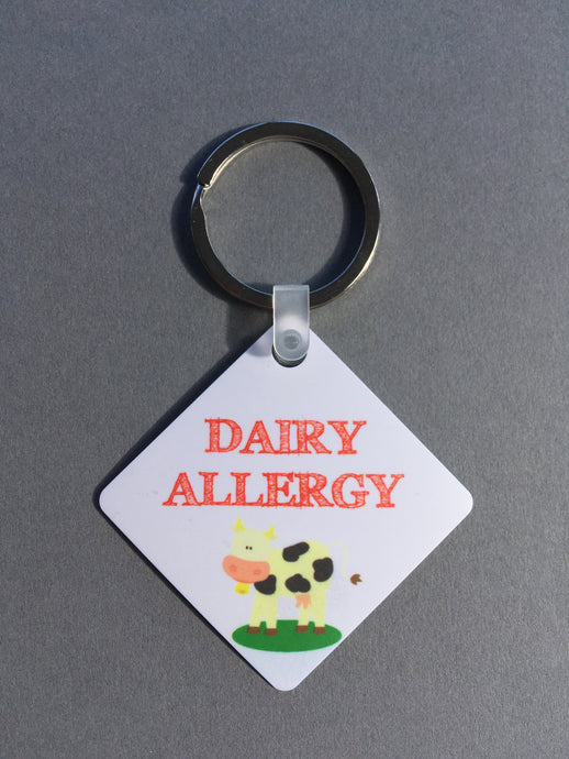 Dairy allergy Medical Alert Keyring. - Fred And Bo