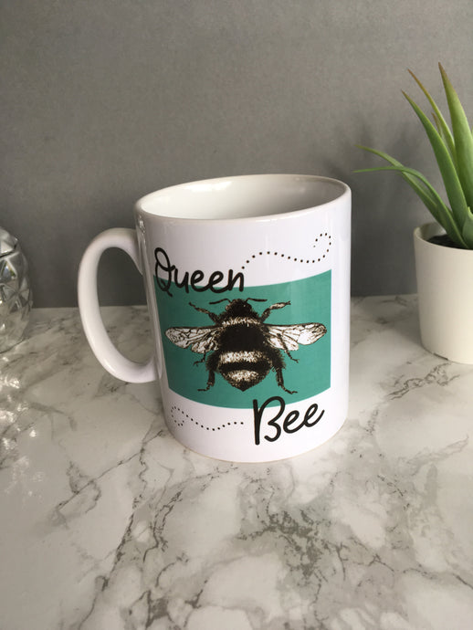 Queen Bee printed ceramic mug