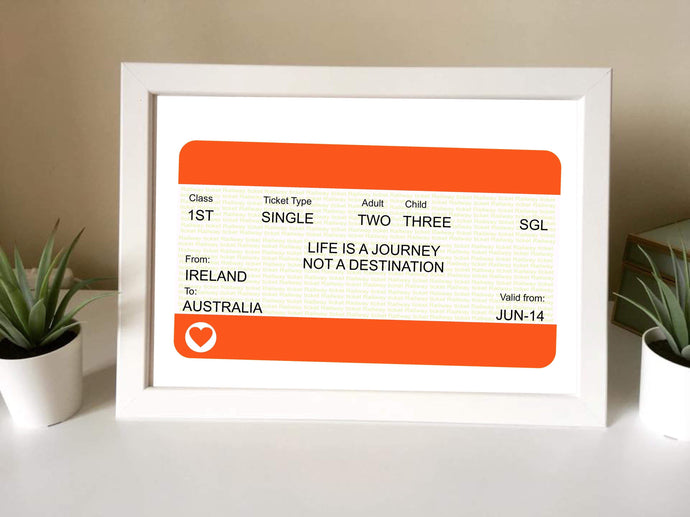 Personalised Train ticket Framed Print - Fred And Bo