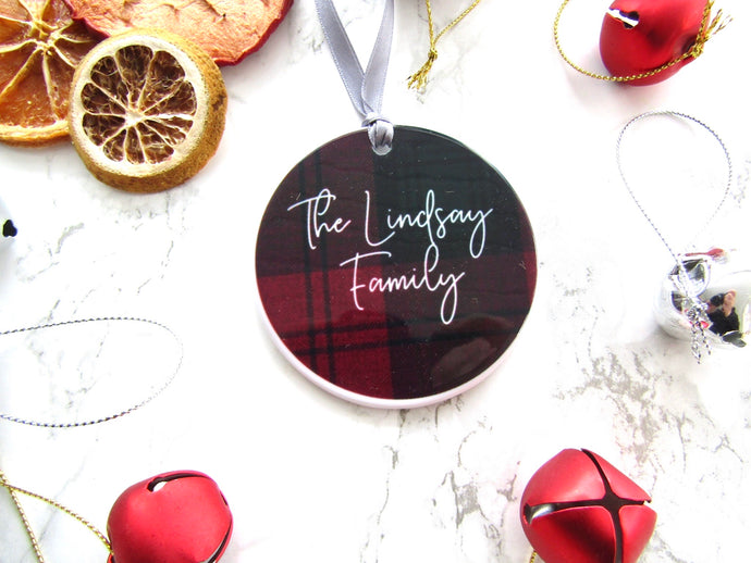 Tartan personalised Ceramic Bauble Hanging Decoration - Fred And Bo