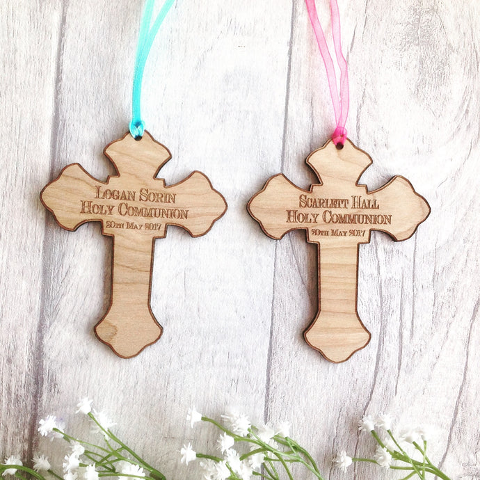 Holy communion gift laser engraved cross personalised - Fred And Bo