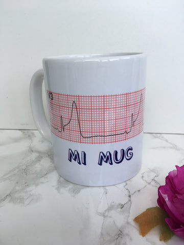 MI mug - heart attack - cardiology nurse heart quote ceramic mug - Fred And Bo