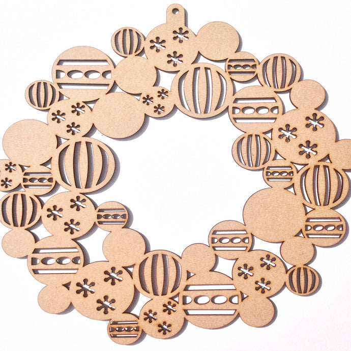 Christmas bauble wreath laser cut - Fred And Bo