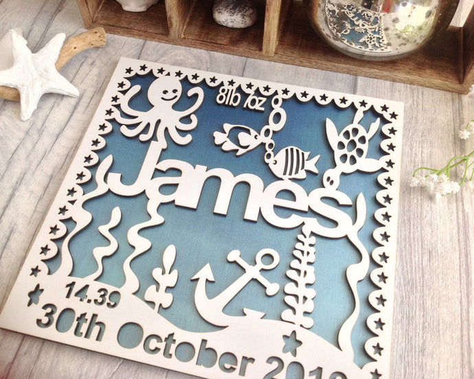 Baby boy underwater theme laser cut wooden plaque - Fred And Bo