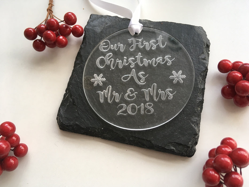 Our First Christmas As Mr & Mrs bauble Acrylic - Fred And Bo