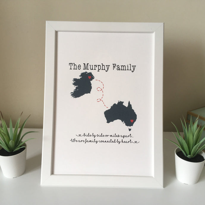 Family across the miles- personalised print- moving gift - Fred And Bo