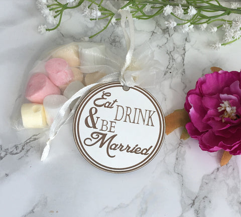 Wedding Favour Tag - Eat Drink & Be Married - Wooden wedding - Fred And Bo