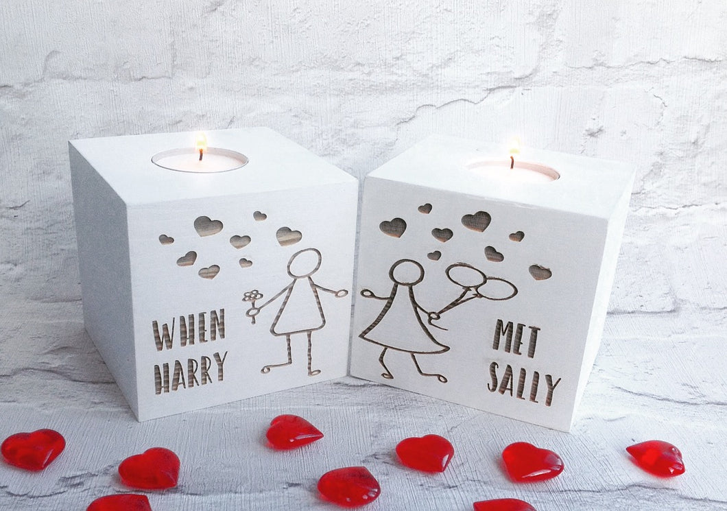 Personalised Stick people couple set of two tea light holders | Valentine's gift - Fred And Bo