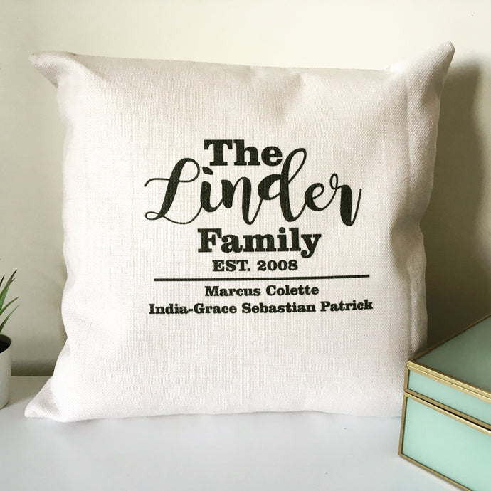 Family Name personalised printed cushion - Fred And Bo