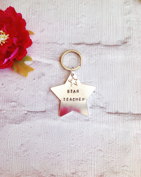 Star hand stamped metal keyring with star charm - Fred And Bo