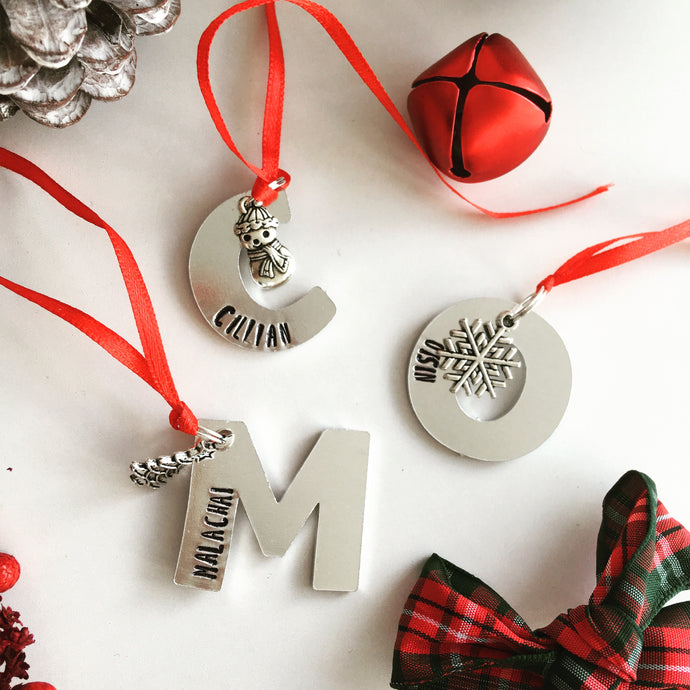 Initial hand stamped metal Christmas decoration - Fred And Bo