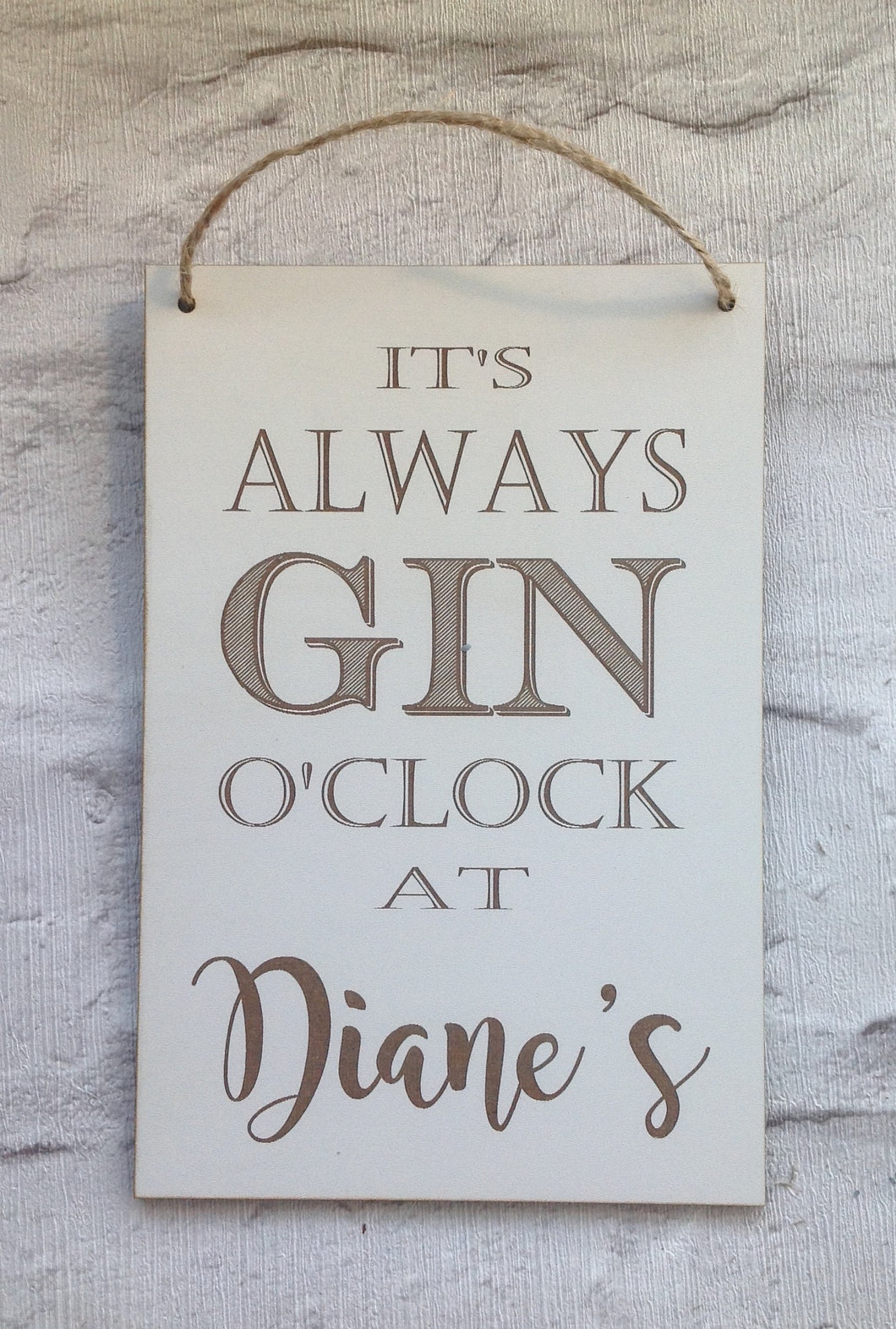 It's always Gin O'clock- personalised plaque - Fred And Bo