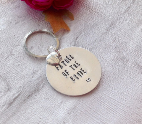 Father of the bride- hand stamped key chain - Fred And Bo
