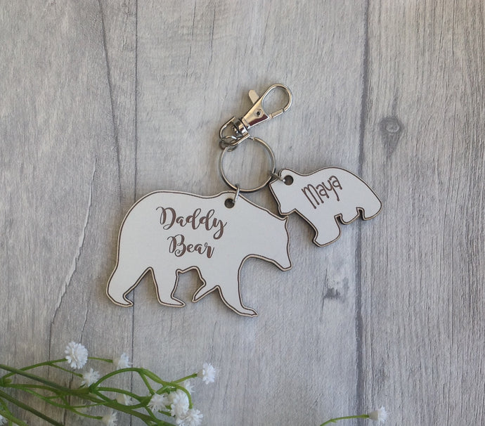Personalised daddy Bear key ring with cub charm- White - Fred And Bo